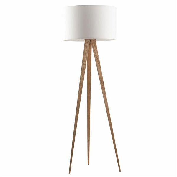 Zuiver Tripod Vloerlamp - wit / hout